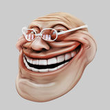 Trollface spectacled. Internet troll 3d illustration. Laughing internet troll spectacled 3d illustration isolated Stock Images