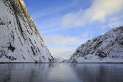 Trollfjord με τα χιονοσκεπή βουνά Στοκ Εικόνες