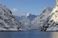 Trollfjord med snö-korkade berg Royaltyfri Fotografi
