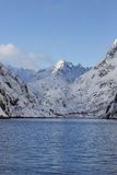 Trollfjord with snow-capped mountains Royalty Free Stock Image