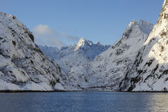 Trollfjord with snow-capped mountains Royalty Free Stock Photography