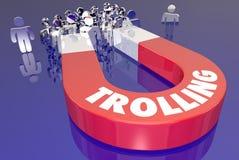 Trolling Przyciąga widownia komentarzy Wzburzonego Gniewnego magnes 3d Illustr Obrazy Stock