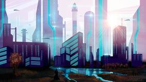 Trollkarl i science fictionstad med rymdskeppet och sjön, digital paintin stock illustrationer