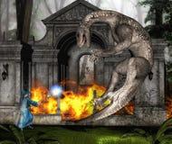 Trollkarl och drake i strid II Arkivbild
