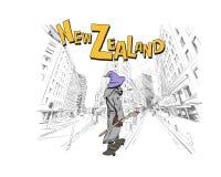 Trollkarlen rider på skateboarden i stadsgummistöveln New Zealand Handen drog staden skissar abstrakt vektor för bakgrundsfantasi Royaltyfri Foto