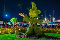 Trollkarls lärlingMickey topiarie i Hollywood studior på Walt Disney World royaltyfri foto