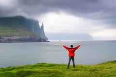 Trollkonufingur cliffs. Vagar island,  Faroe Islands