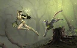 Trollkvinna och husdjur stock illustrationer