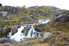 A waterfall near Trollpikken. Eigersund municipality. Rogaland county. Norway stock photography