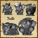 Trolls drôles effrayants de figurines dans un grand choix de cinq Photo stock