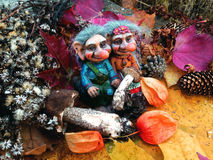 The trolls in the forest, Mushrooms, Autumn Royalty Free Stock Image