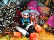 The trolls in the forest, Mushrooms, Autumn. Trolls Mushroom Fungi Troll Norwegian Autumn Forest Wood Cones Tales Darktales Colors royalty free stock image