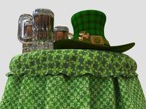 Trolls hatt och öl på tabellen stock illustrationer
