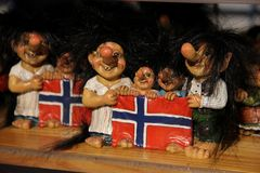 Trolls. Norwegian souvenir Trolls for sale at a shop in the town of Flam, Norway Stock Photography