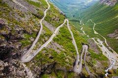 Trollstigen山路在挪威 免版税库存图片