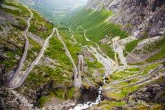 Trollstigen山路在挪威 库存图片