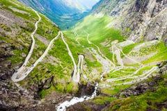 Trollstigen旋转道路,挪威 免版税库存照片
