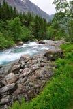 Trollstigen的山河 库存图片