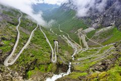 Trollstigen路,挪威 库存照片