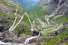 Trollstigen,挪威 免版税库存照片