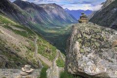 Trollstigen, camino nacional noruego RV63 Fotos de archivo libres de regalías
