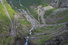 Trollstigen, Norweska krajowa droga RV63 Zdjęcie Stock