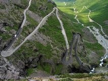 The Trollstigen Road. Narrow twisting road downwards from a pass Royalty Free Stock Photos