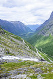 The Trollstigen road between the mountains, Norway. Stock Images