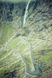 Trollstigen, Troll's Footpath, serpentine mountain road in Norwa Royalty Free Stock Photos