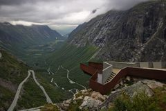 Trollstigen view point. In evening mood without millions of tourists stock photos