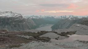 Trolltunga area, Norway. Sunset. Smooth dolly shot. Trolltunga area in Norway. Sunset stock video