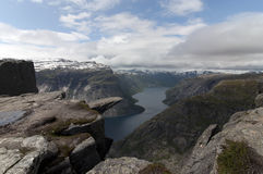 Trolltunga (Troll's tongue) Royalty Free Stock Images