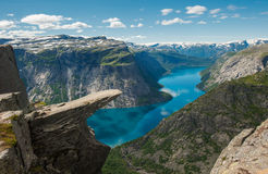 Trolltunga, Troll's tongue rock, Norway royalty free stock photo