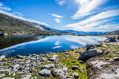 Trolltunga. Troll tongue is a piece of rock jutting horizontally out of a mountain about 700 metres 2,300 ft above the north side of the lake Ringedalsvatnet in Stock Image