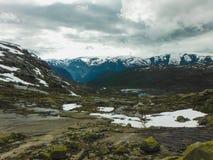 Trolltunga vandring, sj? Ringedalsvatnet, Norge, h?rligt scandinavian landskap, Scandianavia, sommarnatur Vandringen startar fr?n fotografering för bildbyråer