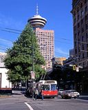 Trolly bus in city centre, Vancouver. Stock Photo
