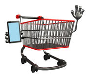 The trolly character with mobile Stock Photo