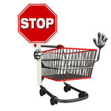 The trolly charecter with stop sign Royalty Free Stock Photography