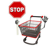 The trolly charecter with stop sign Stock Photo