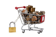 Trolly with coins in, secured with padlock and iso Royalty Free Stock Photography