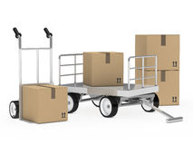 Trolly and hand truck packages. Transport trolly and hand truck with packages Royalty Free Stock Photo