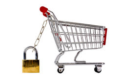 Trolly secured with padlock isolated Stock Images