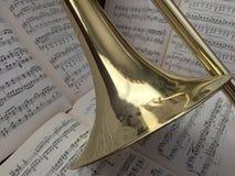 Trombón de cobre amarillo y música clásica 17 imagenes de archivo