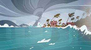 Tromb som är inkommande från havsorkan i enorma vågor för hav på hus på tropiskt naturkatastrofbegrepp för kust stock illustrationer