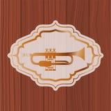 Tromba di musica nel telaio con fondo di legno illustrazione di stock