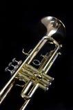 Trombeta de bronze do ouro no preto Imagem de Stock Royalty Free