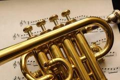 Trombeta de flautim na partitura Fotografia de Stock