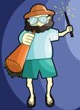 Trombeta de sopro do homem feliz de Bearder ilustração do vetor