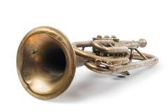 Trombeta dourada velha imagens de stock