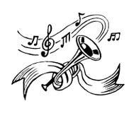 Trombeta e notas Foto de Stock Royalty Free